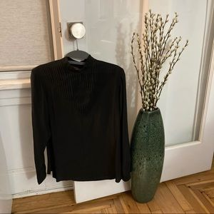 Balfores Black Silk Long Sleeve Blouse Top Size 4